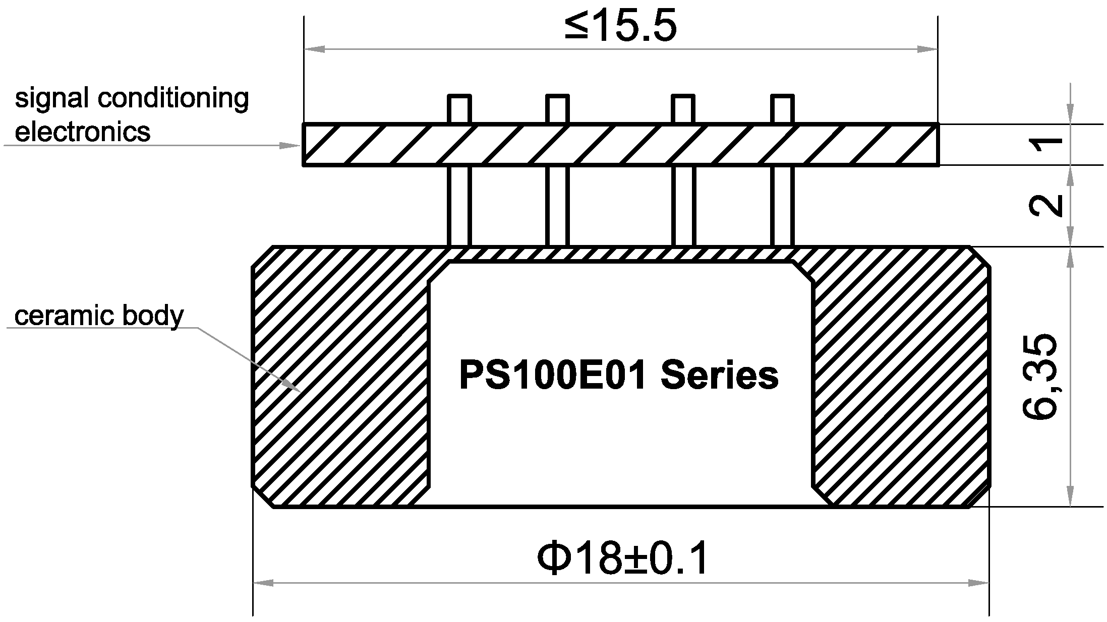 PS100E01 series 0.5-4.5V ceramic pressure sensor