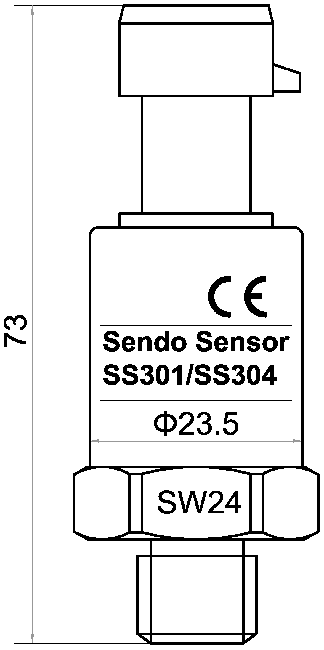 SS304 series 16bar pressure sensor for water treatment
